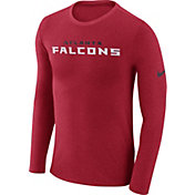 Nike Men's Atlanta Falcons Marled Wordmark Red Long Sleeve Shirt