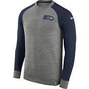 Nike Men's Seattle Seahawks AW77 Carbon Heather Crew Top