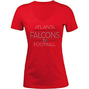 5th & Ocean Women's Atlanta Falcons Rhinestone Red T-Shirt