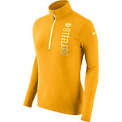 Nike Women's Pittsburgh Steelers Element Quarter-Zip Performance Gold Top