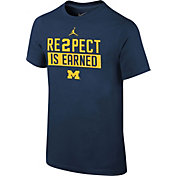 Jordan Youth Michigan Wolverines Blue 'RE2PECT is Earned' T-Shirt