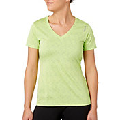Reebok Women's Plus Size V-Neck Blip Melange Performance T-Shirt