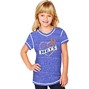 Soft As A Grape Youth Girls' New York Mets Royal V-Neck Shirt