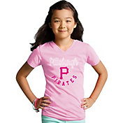 Soft As A Grape Youth Girls' Pittsburgh Pirates Pink V-Neck Shirt