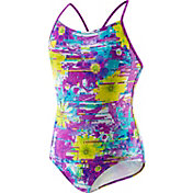 Speedo Girls' Fractured Floral Keyhole Racer Back Swimsuit