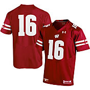 Under Armour Youth Wisconsin Badgers #16 Red Replica Football Jersey