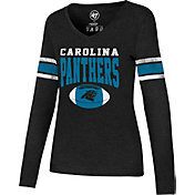 '47 Women's Carolina Panthers Club Stripe Black Long Sleeve Shirt