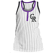 5th & Ocean Women's Colorado Rockies Pinstripe White Tank