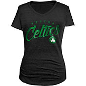 5th & Ocean Women's Boston Celtics Tri-Blend Black V-Neck T-Shirt