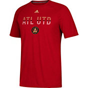 adidas Men's Atlanta United Cross Flow Ultimate Red Performance T-Shirt