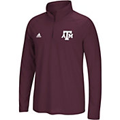 adidas Men's Texas A&M Aggies Grey Logo Long Sleeve Quarter-Zip Shirt