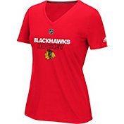 adidas Women's Chicago Blackhawks Authentic Ice Ultimate Red Performance V-Neck T-Shirt