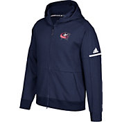 adidas Men's Columbus Blue Jackets Authentic Pro Squad ID Navy Full-Zip Hoodie