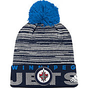 adidas Men's Winnipeg Jets Locker Room Navy Pom Knit Beanie