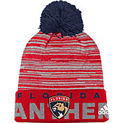 adidas Men's Florida Panthers Locker Room Red Pom Knit Beanie