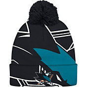 adidas Men's San Jose Sharks Logo Black Pom Knit Beanie