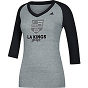 adidas Women's Los Angeles Kings Bling Heather Grey/Black 3/4 Sleeve V-Neck Shirt