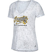 adidas Women's Pittsburgh Penguins Script Tail White V-Neck T-Shirt