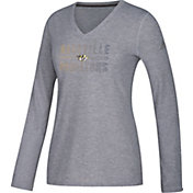 adidas Women's Nashville Predators Gradient Ultimate Heather Grey Performance V-Neck Long Sleeve Shirt