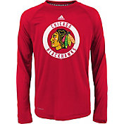 adidas Youth Chicago Blackhawks Practice Red Performance Long Sleeve Shirt