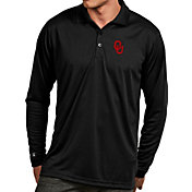 Antigua Men's Oklahoma Sooners Black Exceed Long Sleeve Polo