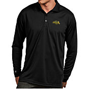 Antigua Men's North Dakota State Bison Black Exceed Long Sleeve Polo