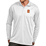 Antigua Men's Syracuse Orange White Exceed Long Sleeve Polo