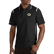 Antigua Men's Green Bay Packers Merit Black Xtra-Lite Polo