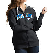 Antigua Women's Tulane Green Wave Grey Victory Full-Zip Hoodie