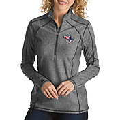 Antigua Women's New England Patriots Quick Snap Logo Tempo Grey Quarter-Zip Pullover