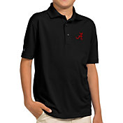 Antigua Youth Alabama Crimson Tide Black Pique Polo