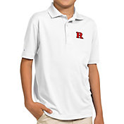 Antigua Youth Rutgers Scarlet Knights White Pique Polo