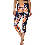 Betsey Johnson Performance Women's Midnight Floral Cutout Capris Leggings