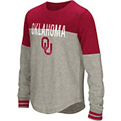 Colosseum Youth Girls' Oklahoma Sooners Grey Baton Long Sleeve Shirt