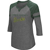 Colosseum Women's Oregon Ducks Grey Three-Quarter Sleeve Tri-Blend T-Shirt