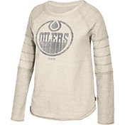 CCM Women's Edmonton Oilers Grey Raglan Long Sleeve Shirt