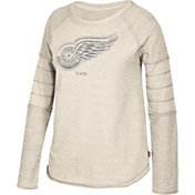 CCM Women's Detroit Red Wings Grey Raglan Long Sleeve Shirt