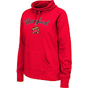 Colosseum Women's Maryland Terrapins Red Funnel Neck Fleece Pullover