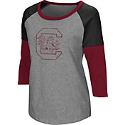Colosseum Women's South Carolina Gamecocks Grey Raglan T-Shirt