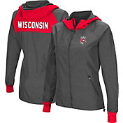 Colosseum Women's Wisconsin Badgers Charcoal Backside Hooded Jacket
