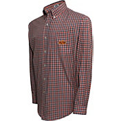 Campus Specialties Men's Oklahoma State Cowboys Black Multi-Checkered Woven Long Sleeve Shirt