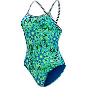 Dolfin Girls' Uglies Miley Blue Printed X Back Swimsuit