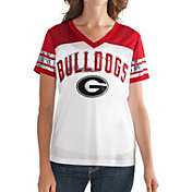 G-III For Her Women's Georgia Bulldogs White/Red Free Agent V-Neck T-Shirt