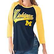 G-III For Her Michigan Wolverines Blue/Maize Halftime Three-Quarter Raglan T-Shirt