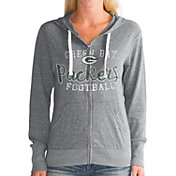Touch by Alyssa Milano Women's Green Bay Packers Nubby Tri-Blend Full-Zip Charcoal Hoodie