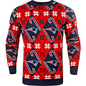 KLEW Men's New England Patriots Candy Cane Ugly Sweater