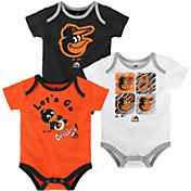 Majestic Infant Baltimore Orioles 3-Piece Onesie Set