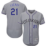 Majestic Men's Authentic Colorado Rockies Jonathan Lucroy #21 Flex Base Road Grey On-Field Jersey