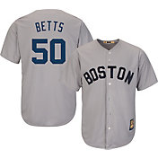 Majestic Men's Replica Boston Red Sox Mookie Betts Cool Base Grey Cooperstown Jersey