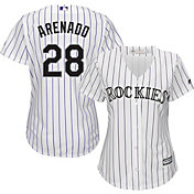 Majestic Women's Replica Colorado Rockies Nolan Arenado #28 Cool Base Home White Jersey
